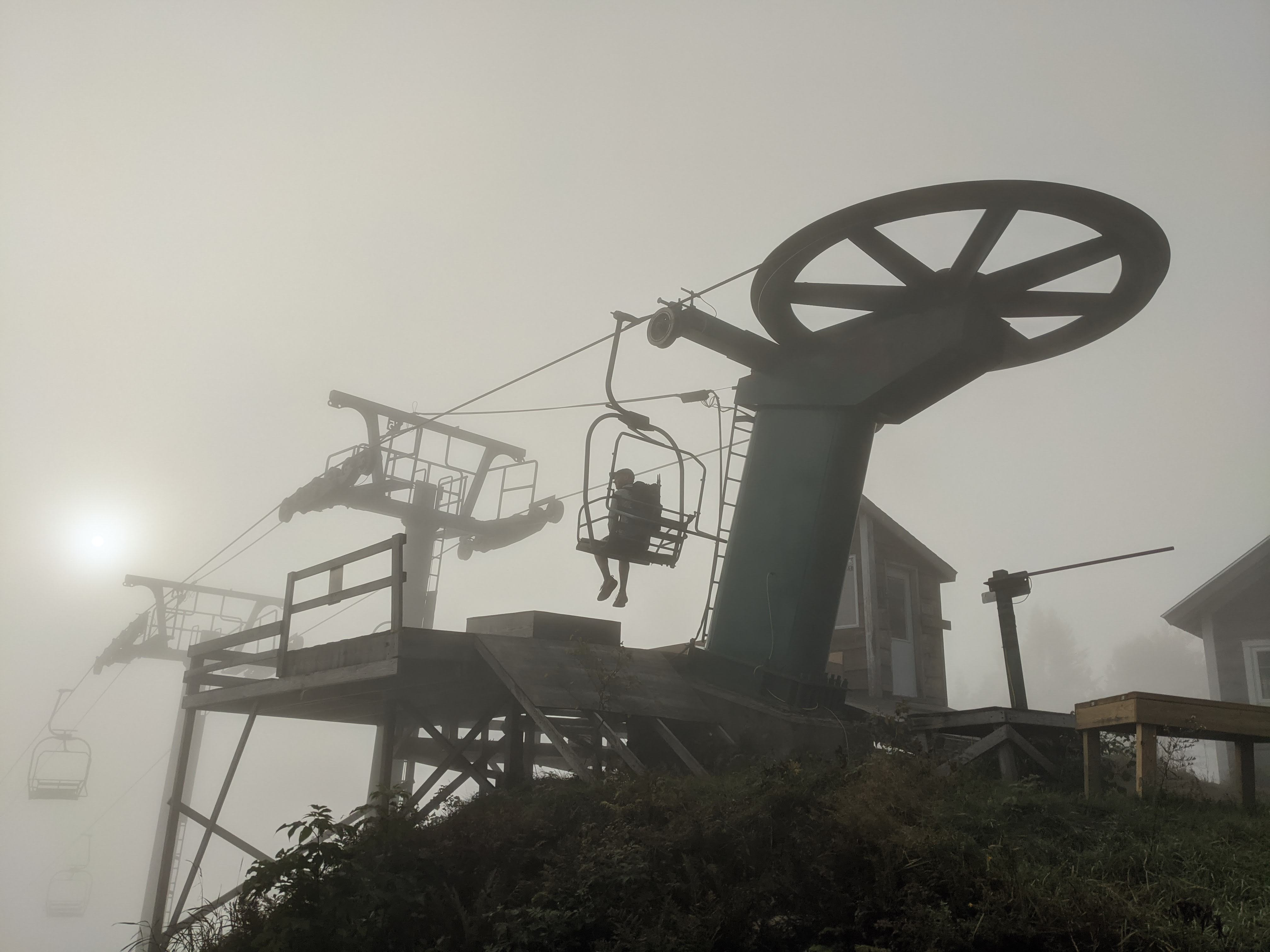 Sitting on the top chair of Lift 2 at Mad River Glen in the Fog.