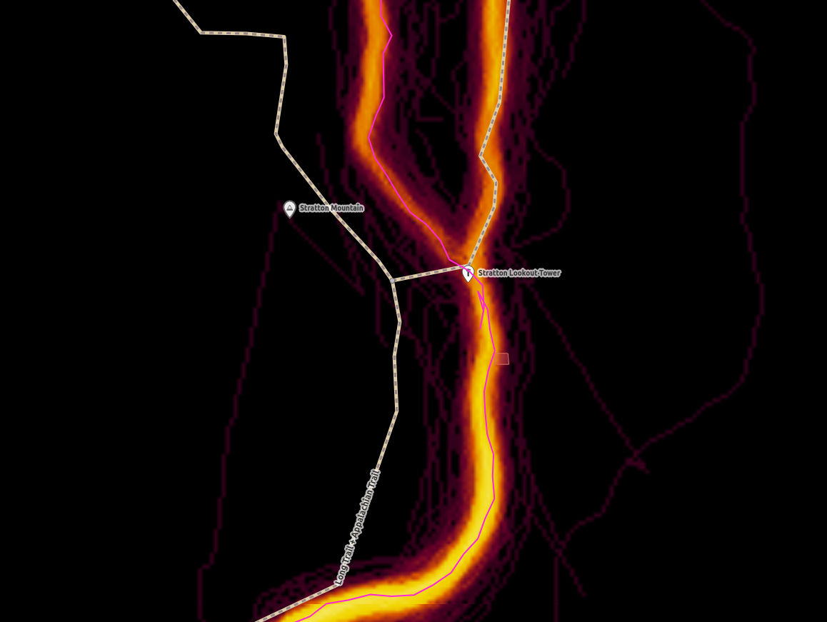 OpenStreetMap iD editor zoomed into the Long Trail on Stratton Mountain.