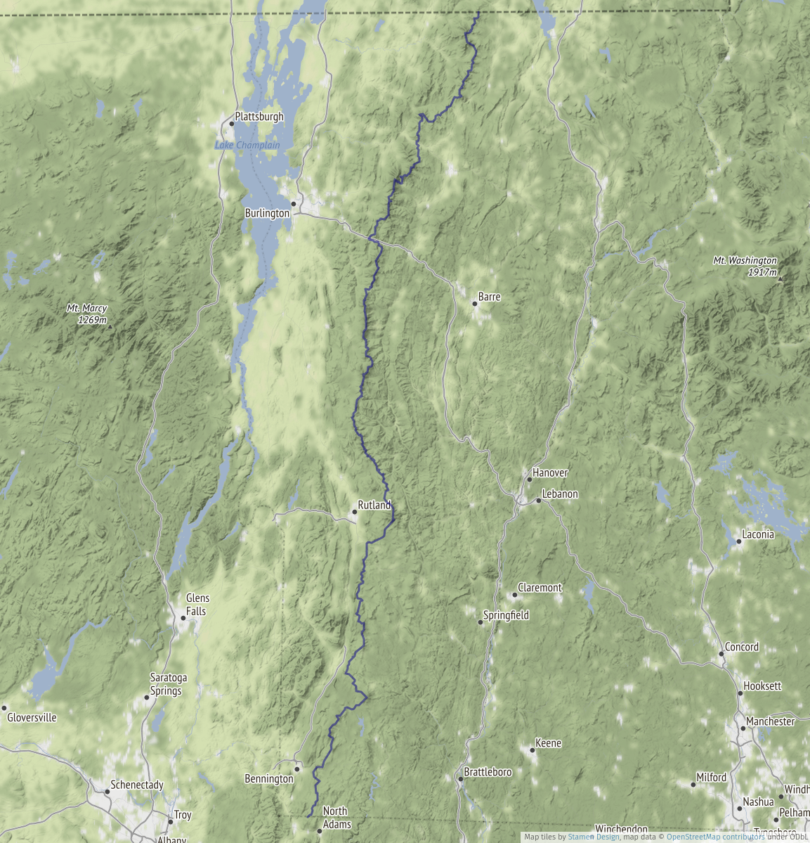 Entire Long Trail route exported from OpenStreetMap and superimposed on a terrain map.