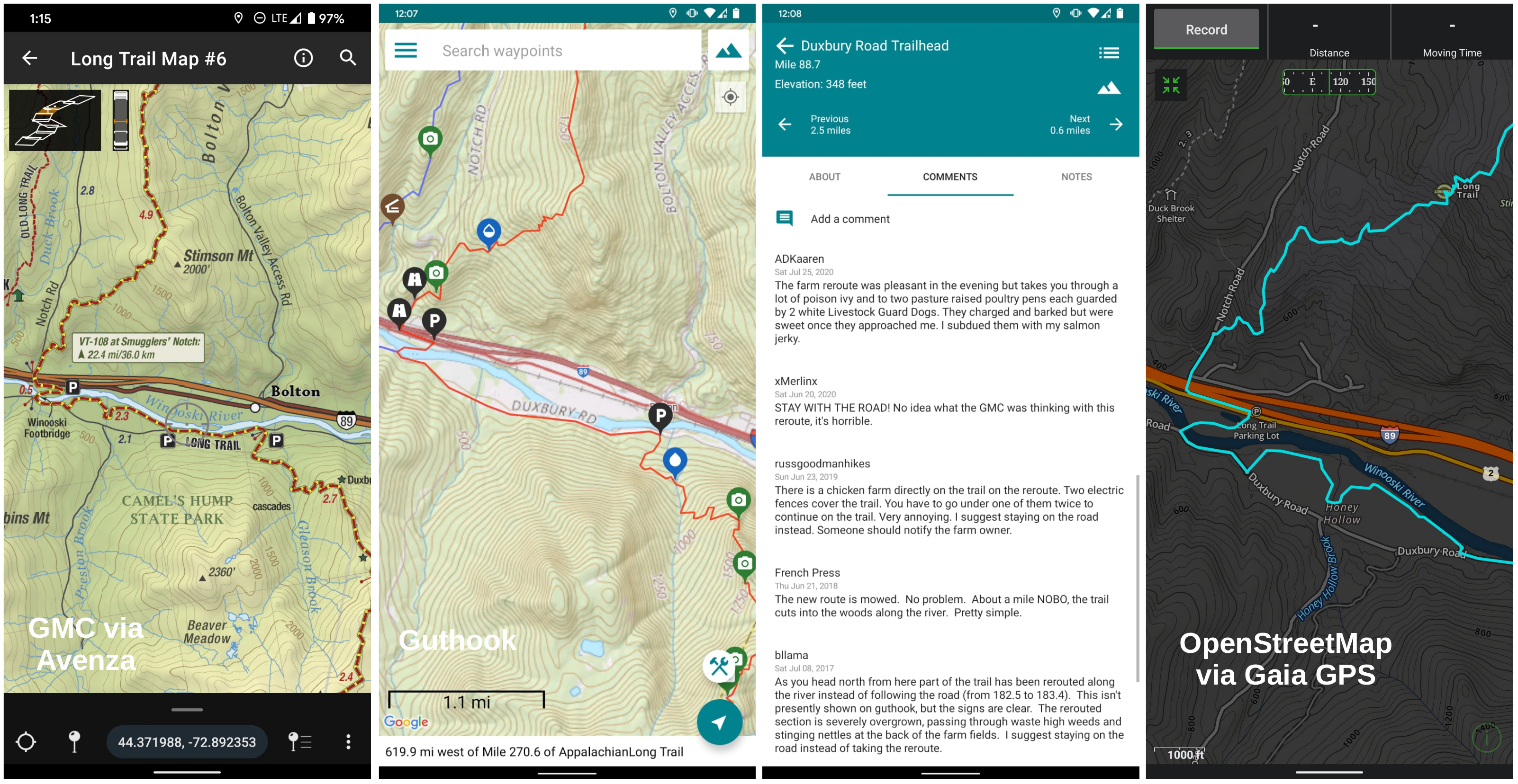 The big three Long Trail maps side-by-side: GMC via Avenza, Guthook Guides, and OpenStreetMap via Gaia GPS.