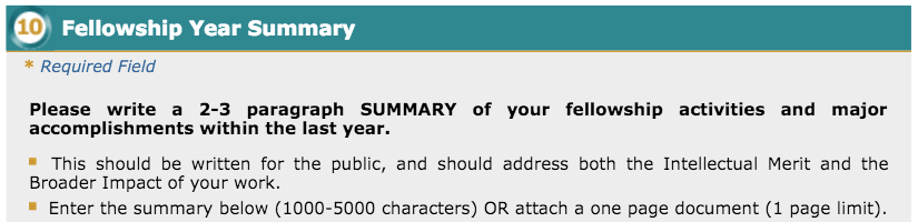 Screenshot of the Fellowship Year Summary prompt
